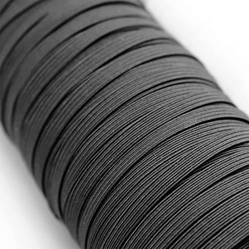 Urhome 5mm platte elastische band voor het naaien van DIY gezichtsmaskers sieraden kleding naaien accessoires | elastisch ondergoed rubber koord met hoge elasticiteit | koord zwart in 5 meter lengte