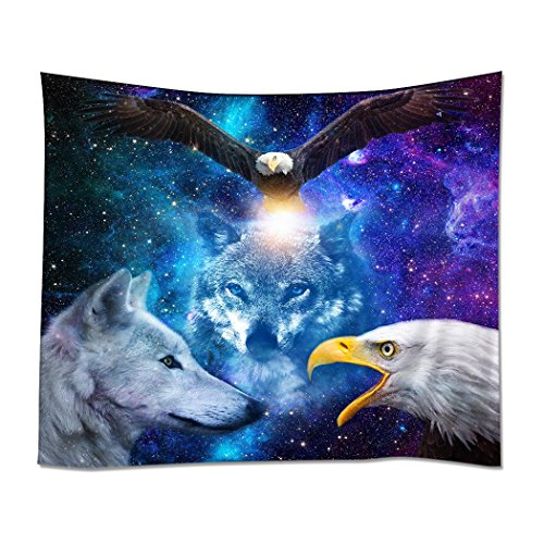 YISUMEI Tapestry Home Decorations Art Wall Hanging Hippie Tapestries 40'x 50' Wolf Eagle Star Galaxy