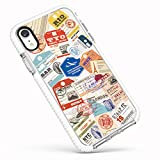 iPhone XR Cute Case,Stylish Funny Boarding Pass Travel Stamps Airline Tags Pattern Case Clear with Design Trendy Transparent Soft TPU Bumper Shockproof Protective Case Cover Compatible for iPhone XR
