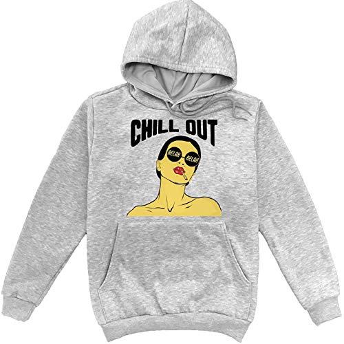 Sartamke Chill Out Relax Sexy Girl Sweat à Capuche Unisexe Gris Medium