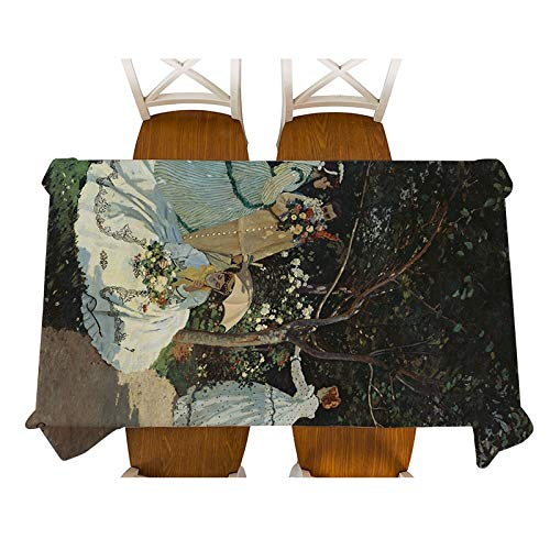 XXDD Monet-Impression of Sunrise painting Decorative Waterproof Linen Tablecloth Thick Rectangular Dining Table Cover Tea Table Cloth A8 135x160cm