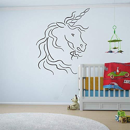 Quszpm Cartoon Beast Horse Adesivi murali Animali Camera dei Bambini Camera da Letto Bestia Animale Adesivo murale Soggiorno Decorazione in Vinile 71 cm x 56 cm
