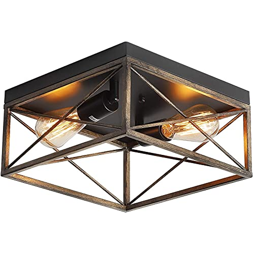 Industrial 2-Light Retro Semi Flush Mount Ceiling Light, Farmhouse Metal Ceiling Light Fixture for Hallway Kitchen Bedroom Foyer Porch, Adjustable Angle, E26 Base, Metal Wooden Finish