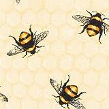 Cremefarbener Baumwollstoff mit Bienen und Honigwaben