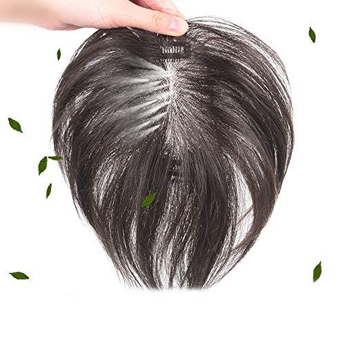 Souple Fashian 100% Véritable Bloc de Remplacement de Cheveux de Perruque Humaine - Pièce de Perruque Fluffy Invisible pour les Femmes fashion (Color : Hand-woven [7x10] black 35cm)