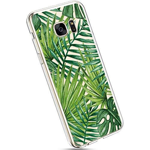 Ysimee Compatible avec Coque Samsung Galaxy S7 edge,Étui Transparent Motif Imprimé,Housse Ultra Fine en Silicone Souple,Housse Protecteur Antichoc TPU Bumper Case,Tropical Feuilles de Palmier
