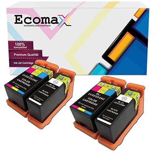Ecomax 4 Kompatibel Tintenpatrone als Ersatz fur Dell 21 22 23 24 fur Dell P513W P713W V313 V313W V513W V515W V51 V715W