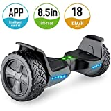 TOMOLOO Hoverboard with Bluetooth Speaker UL2272 Certified Self Balancing Electric Scooter 8.5' Two-Wheel Hover Boards with Led Lights (Black-V)