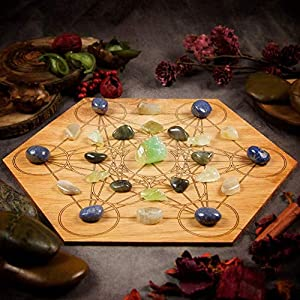 Panic and Anxiety Relief Large Crystal Grid Set | Green Calcite, Labradorite, Moonstone, Dumortierite