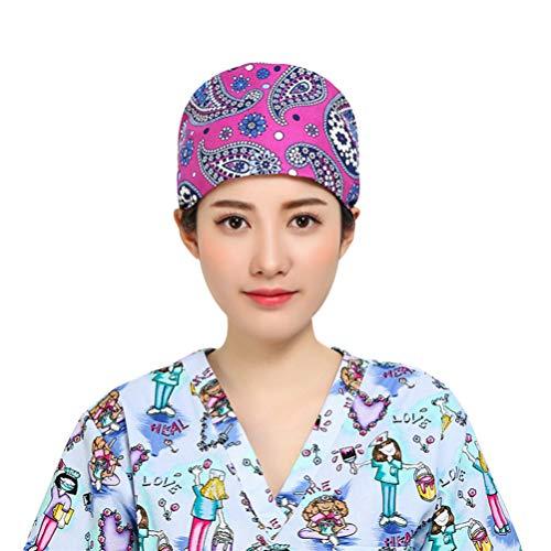 TENDYCOCO Chirurgische Peelingkappe Verstellbarer Blumendruck Arzt Krankenschwester Arbeitshut Schädel Mütze Kappe für Arbeitsoperation Chef