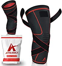 Knee Brace Compression Sleeve with Strap for Best Support & Pain Relief for Meniscus Tear, Arthritis, Running, Basketball, MCL, Crossfit, Jogging, Post Surgery Recovery for Men & Women by Athledict, L