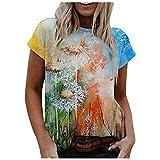 VCAOKF Camiseta de manga corta para mujer, diseño de paisaje y flores, cuello redondo, suelto, manga corta, informal, estilo informal, estampado de flores, tallas S-2XL naranja XXXL