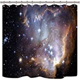 Riyidecor Galaxy Outer Space Nebula Shower Curtain Universe Planets Magical...