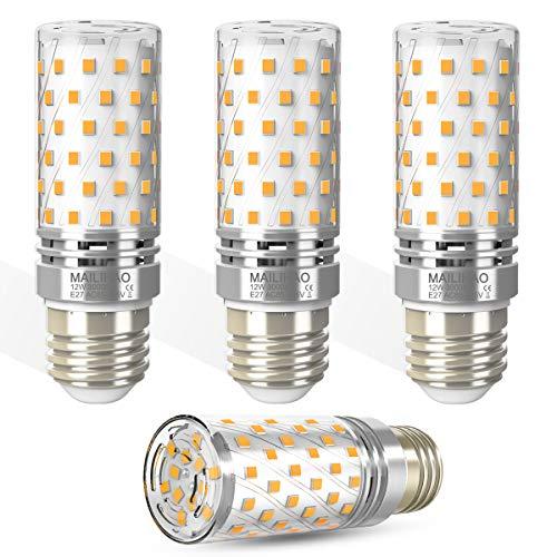 Lampadina LED E27 12W Luce Bianco Caldo 3000K 1400LM Led Lampada Equivalenti a incandescenza 100W, Lampadine Led E27 Candelabro Candela Led Pannocchia Lampadina Mais Non Dimmerabile, 4 Pezzi