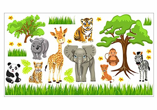 nikima Schönes für Kinder 088 Wandtattoo Baby Zoo Dschungel Tiere Safari Löwe Elefant Giraffe (1500 x 840 mm)