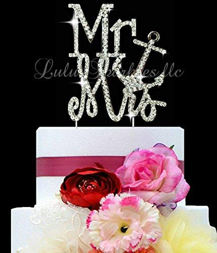 Lulu Sparkles LLC Hochzeitstortenaufsatz mit Kristall-Strasssteinen, maritimes Design mit Anker-Motiv