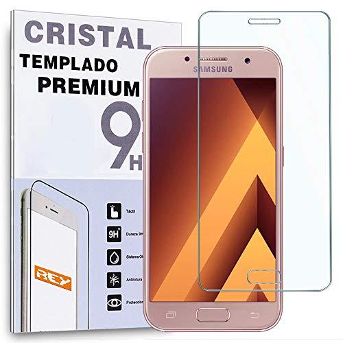 REY Protector de Pantalla Curvo para Samsung Galaxy A3 2017, Transparente, Cristal...