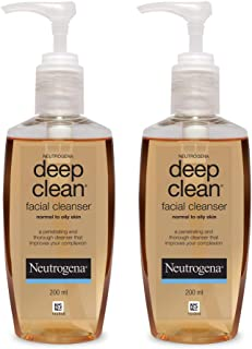 Neutrogena Deep Clean Facial Cleanser, Brown, 200 ml (Pack of 2)