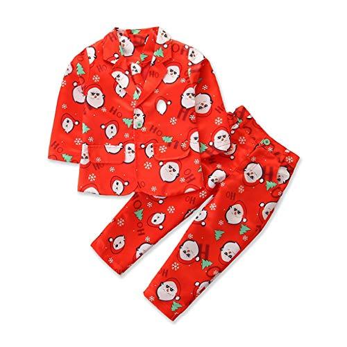 wuayi Baby Junge Smoking Anzug Weihnachtsmann Drucken Sakkos Und Hosen Gentlemen Weihnachten Bekleidungsset Bekleidung Jungenanzug Kinderanzug