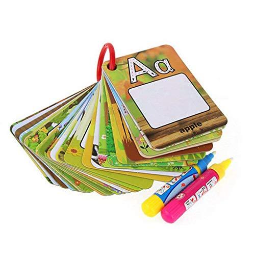 FLORMOON Tablero de Dibujo para niños -A-Z 26 Cartas de Pintura de Agua de Alfabeto -Reutilizable Reveal Word Card -Juguete Educativo para niños, 2 bolígrafos mágicos incluidos