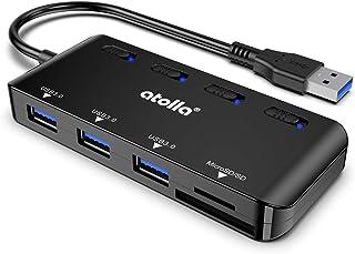 atolla - Hub USB 3.0, 3 porte, con lettore di schede SD/TF, ultra sottile, con accensione singola e LED