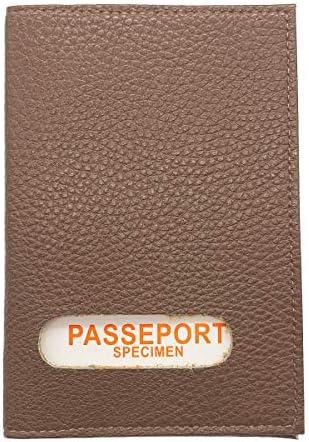 Vera en Cuir Vachette Etui Prot/ège-Passeport Charmoni Housse Couverture Protection Holder Pochette Passeport 2 Plis Orange 10 cm X 14cm