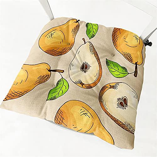 Chickwin Cojines para Silla con Correas de Sujeción, Fruta Estampado Pack 2 Cojín Decorativo de Asiento Cojines Acolchados de sillas para Terraza Jardín Sala Balcón (40x40cm,Pera)