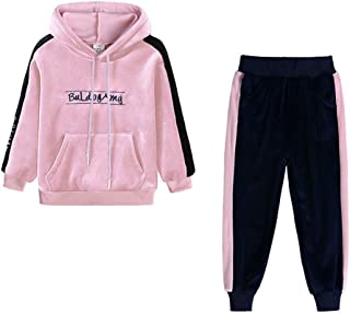 Boys Girls 2Pcs Velvet Hooded Tracksuit Top+Sweatpant Outfit Set(12M-8T), Pants Outfits Fall Winter Clothes Set