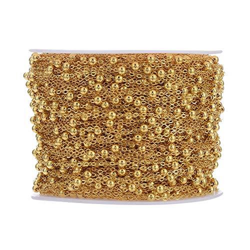 Beadthoven - Cadenas de latón de 100 yardas de oro satélite, cadena de cable de cruz con cuentas Rondelle, pulsera de cuentas de bolas delicadas para joyería, cadena y fabricación de collares