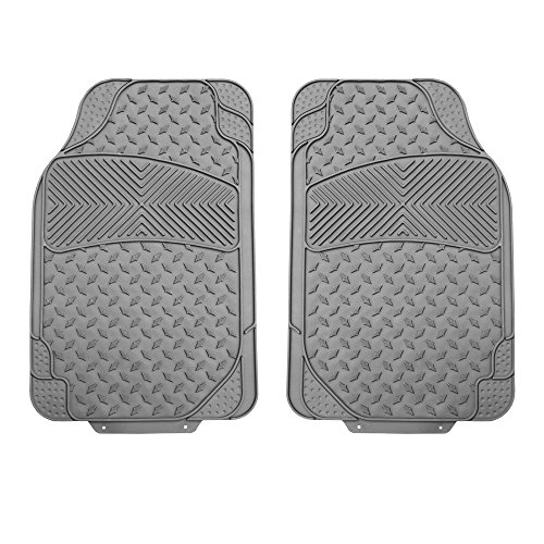 FH Group F11307 Semi-Custom Trimmable Vinyl Floor Mats (Gray) Front Set- Universal Fit for Cars Trucks and SUVs