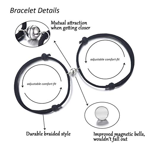 Couples Bracelets, Mutual Attraction Magnetic Matching Bracelet Couple Gifts for Lovers Boyfriend Girlfriend Women Men His and Her