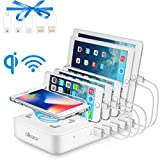 allcaca Wireless Charging Station for Multiple Devices - Fast Charging Station Family Charge Dock Organizer with 5 USB Ports and 1 Qi Wireless Charging Pad for iPhone/ipad/Samsung/Android Phone/Tablet