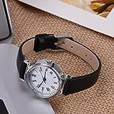 Reloj de vestir para mujer, pequeño mini reloj exquisito para amigos para mujeres y colegas para amigas (cinturón negro placa blanca)