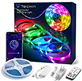 TECKIN RGBIC - Striscia LED 5 m, DreamColor con musica, 5050 impermeabile, con APP, Alexa, Google impermeabile IP44, per casa, cucina, armadio, casa, esterno