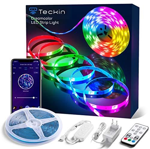 RGBIC Led Strip 5m, TECKIN DreamColor LED Strip Sync mit Musik, 5050 IP44 Wasserdicht Staubdicht funktioniert mit APP, Alexa, Google für Zuhause, Küche, Schrank,...