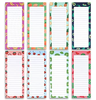 8 Magnetic Notepads - Large Notepads for Grocery List Shopping List To-Do List Reminders Recipes -Magnetic Back- Memo Notepad with Realistic Fruit Designs   60 Sheets per Pad 9 x 3.5 inch  8 Pack