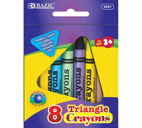 BAZIC 8 Color Premium Quality Super Jumbo Triangle Crayon