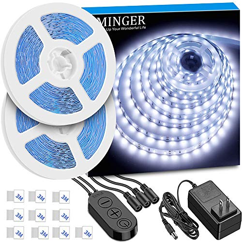 LED Strip Lights 32.8ft, MINGER 6500K Bright White LED Light Strip with Control Box, Strong 3M Adhesive, Dimmable 600LEDs Lights Strip for Mirror, Living Room, Study, Wardrobe, Cupboard