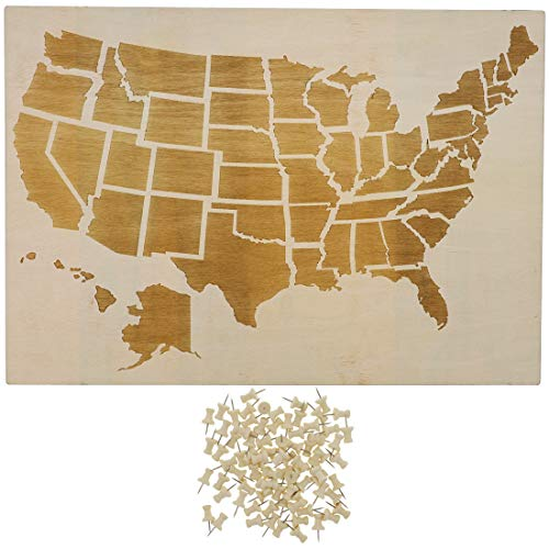 Bright Creations Wood Travel Map for Wall Decor with 100 Push Pins, 16.5 x 11.5 Inches