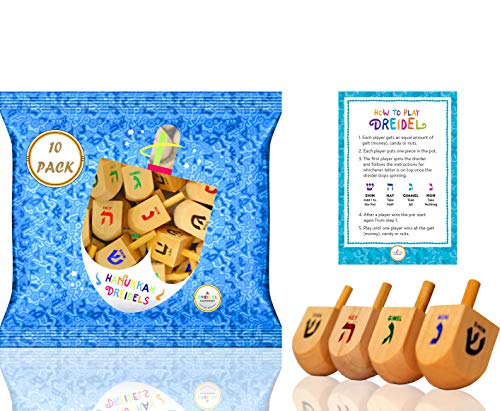 The Dreidel Company Wood Dreidels Medium Sized With English Translation (10-Pack) - Instructions Included!
