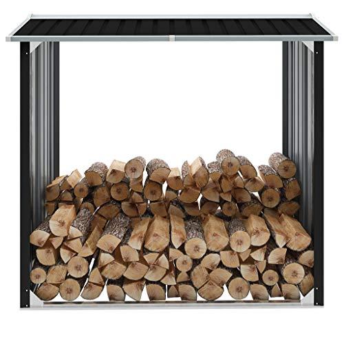 GOTOTOP Abri de rangement en bois de chauffage en acier galvanisé pour bois de chauffage, grand bois pour jardin extérieur, 172 x 91 x 154 cm, gris anthracite