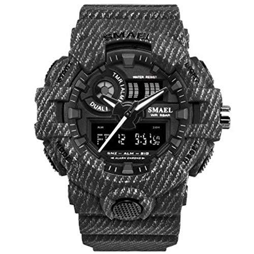 SXXYTCWL Hombres Mujeres Deportes Impermeable Reloj electrónico 50M Reloj Impermeable del Deporte Digital analógico, multifunción de Doble Tiempo de visualización jianyou (Color : E)