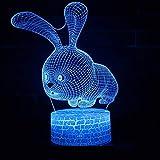 JYHW Kaninchen Kreative 3D Lampe Kinderzimmer Nacht Led Kleine Nachtlicht Visuelle Puppenhaus...