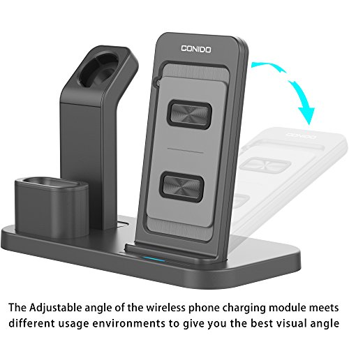 Conido Wireless Charger for iPhone, 3 in 1 Charging Stand for Apple Series Watch 5/4/3/2/1/, AirPods Pro 2 1 Charging Dock, Charging Station Compatible iPhone SE 2020,11 Pro Max, XS Max, XR, X, 8 Plus Photo #5