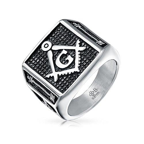 Bling Jewelry Sociedad Secreta Brújula Cuadrado Negro Francmasón Signet Anillo Masónico para Hombres Tono Plateado Acero Inoxidable