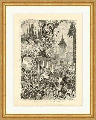 Kunstdruck Fest der jugendlichen Armbrust Schützen in Thun Schweiz Holzstich M 609 Gerahmt