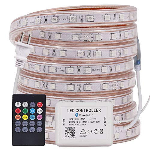 XUNATA LED Strip Lights, Bluetooth Control RGB 110-120V SMD 5050 60 LEDs/m Waterproof Rope Light Strip with 20Key IR Remote, Work with iOS & Android Music Time Control System(50ft/15m)