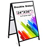 AkTop Heavy Duty A Frame Sidewalks Signs 24 x 36 Inch, Double-Sided Metal Sandwich Board Slide-in Folding Outdoor Signboard with 2 Corrugated Plastic Poster Boards