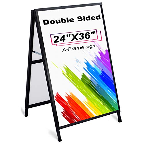 AkTop Heavy Duty A Frame Sidewalks Signs 24 x 36 Inch, Double-Sided Metal Sandwich Board Slide-in Folding Outdoor Signboard with 2 Corrugated Plastic Poster Boards