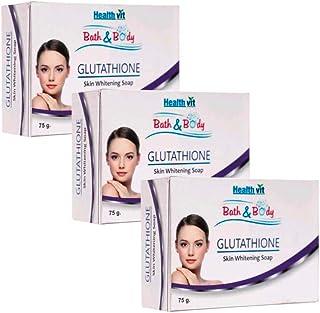 HealthVit Bath and Body Glutathione Skin Whitening Soap - 75 g (Pack of 3)
